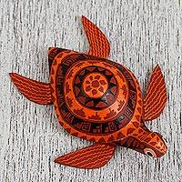 Wood alebrije figurine, 'Sunset Sea Turtle' - Wood Alebrije Sea Turtle Figurine in Orange from Mexico