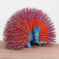 Wood alebrije sculpture, 'Blue Porcupine' - Wood Alebrije Porcupine Sculpture in Blue and Orange