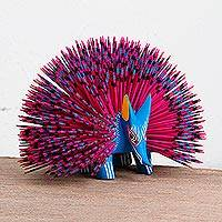 Wood alebrije sculpture, 'Cool Porcupine' - Wood Alebrije Porcupine Sculpture in Blue and Pink