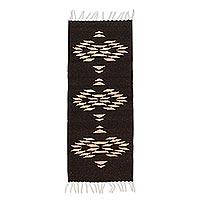 Wool area rug, 'Brown Geometry' (1x3.5)