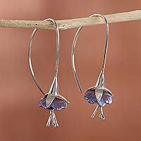 Titanium plated sterling silver drop earrings, 'Sleepy Flowers' - Floral Titanium Plated Sterling Silver Drop Earrings