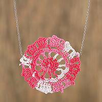 Cotton pendant necklace, 'Pink Flower' - Floral Crocheted Cotton Pendant Necklace in Pink from Mexico