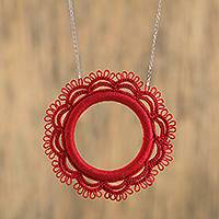 Cotton pendant necklace, 'Red Ring' - Red Cotton Crocheted Pendant Necklace from Mexico