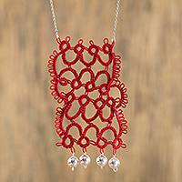 Cotton long pendant necklace, 'Red Patterns' - Hand-Crocheted Cotton Pendant Necklace in Red from Mexico