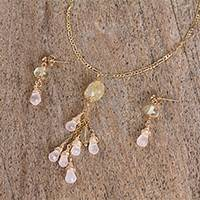 Quartz pendant jewelry set, 'Pastel Cascade' - Pink and Yellow Quartz Pendant Necklace and Earrings Set