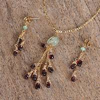 Garnet and prehnite pendant jewelry set, 'Vineyard Meadow' - Garnet and Prehnite Pendant Necklace and Earrings Set