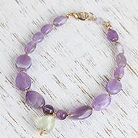 Amethyst and prehnite beaded pendant bracelet, 'Dew at Dawn' - Amethyst and Prehnite Beaded Pendant Bracelet