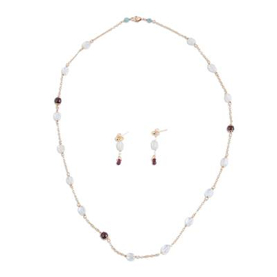 Aquamarine and Garnet Bead Necklace and Earrings Set