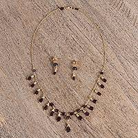 Amethyst pendant jewelry set, 'Raining Passion' - Amethyst and Quartz Pendant Necklace and Earrings Set