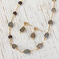 Labradorite link and bead jewelry set, 'Glorious Mountainside' - Labradorite and Agate Pendant Necklace and Earrings Set