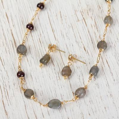 Gold plated labradorite and garnet jewelry set, 'Glorious Mountainside' - Labradorite and Garnet Pendant Necklace and Earrings Set