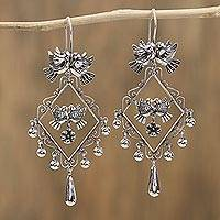 Sterling silver chandelier earrings, 'Peace and Elegance' - Sterling Silver Doves in Diamond-Shape Frame Earrings