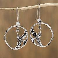 Sterling silver dangle earrings, 'Delicate Hummingbird' - Sterling Silver Hummingbirds in Circle Frame Dangle Earrings