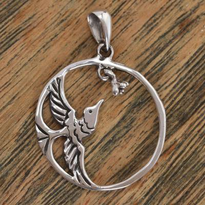 Sterling silver pendant, 'Delicate Hummingbird' - Sterling Silver Hummingbird in Circle Frame Pendant