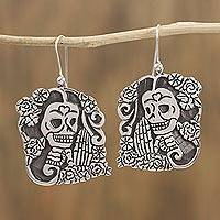 Sterling silver dangle earrings, 'Ancestors Beckon' - Sterling Silver Day of the Dead Catrina Dangle Earrings