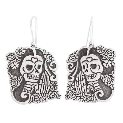 Sterling Silver Day of the Dead Catrina Dangle Earrings