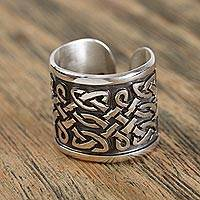 Men's sterling silver wrap ring, 'Celtic Connections' - Men's Sterling Silver Celtic Knot Style Motif Wrap Ring