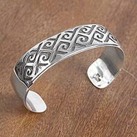 Sterling silver cuff bracelet, 'Dark Curls' - Curl Pattern Sterling Silver Cuff Bracelet from Mexico