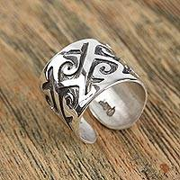 Men's sterling silver wrap ring, 'Strong Currents' - Men's Sterling Silver Angles and Curves Motif Wrap Ring