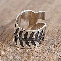 Sterling silver wrap ring, 'Frond' - Handcrafted Sterling Silver Curling Leaf Wrap Ring