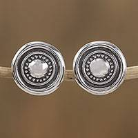 Sterling silver stud earrings, 'Olé' - Handcrafted Sterling Silver Sombrero Motif Stud Earrings