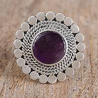 Amethyst cocktail ring, 'Modern Violet' - Amethyst and Sterling Silver Circle Motif Cocktail Ring
