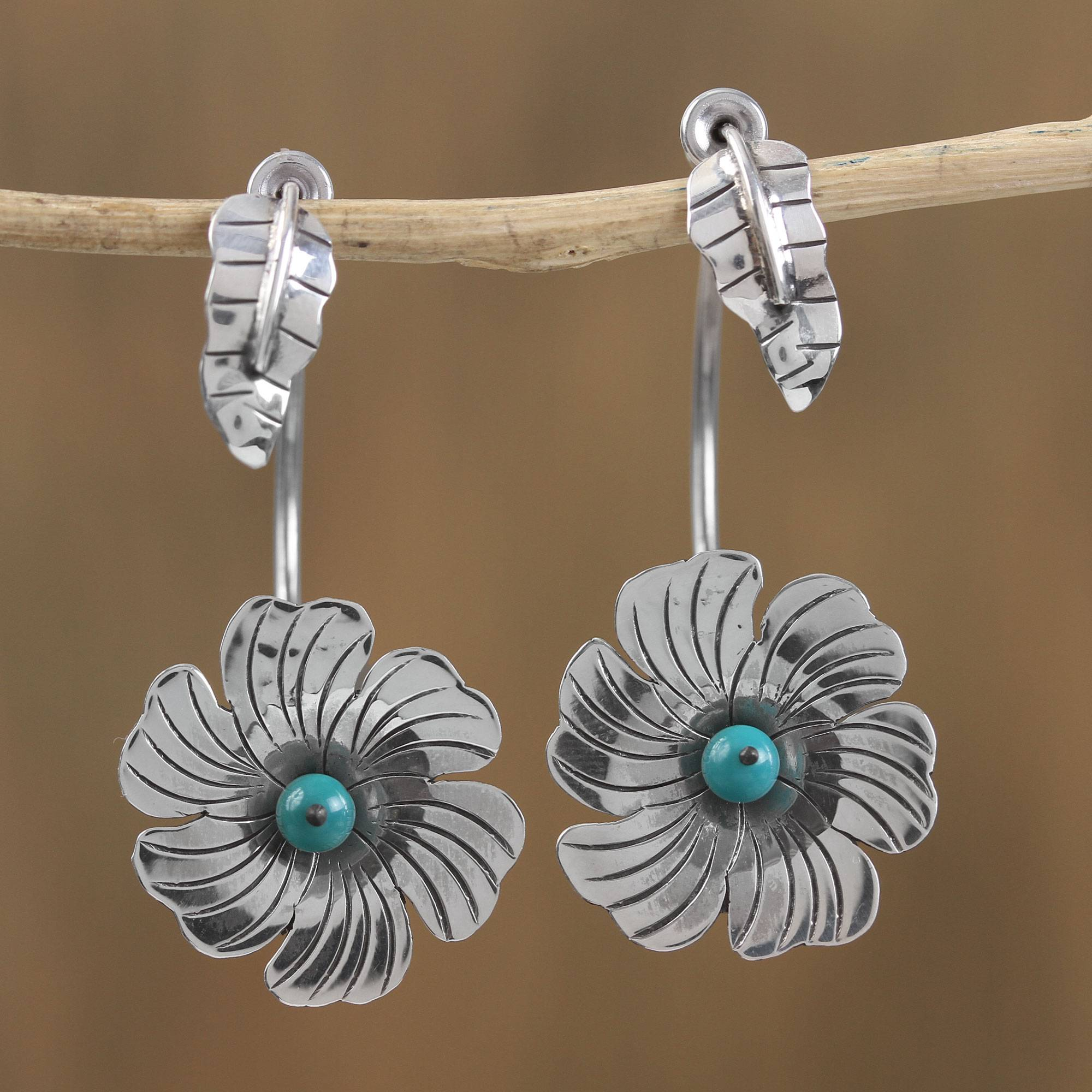 8884d27a41de Sterling Silver Turquoise Accent Flower Motif Drop Earrings ...