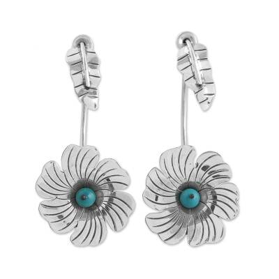 Sterling Silver Turquoise Accent Flower Motif Drop Earrings