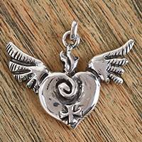 Sterling silver pendant, 'Miracle of the Heart' - Handcrafted Sterling Silver Winged Heart and Cross Pendant