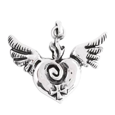 Handcrafted Sterling Silver Winged Heart and Cross Pendant
