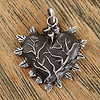 Sterling silver pendant, 'Love Grows' - Handcrafted Sterling Silver Flame-Rimmed Heart Pendant