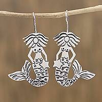 Sterling silver drop earrings, 'Mermaid Star' - Taxco Sterling Silver Mermaid Drop Earrings from Mexico
