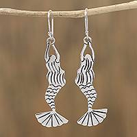 Sterling silver dangle earrings, 'Swimming Mermaids' - Taxco Sterling Silver Mermaid Dangle Earrings from Mexico