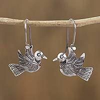 Sterling silver dangle earrings, 'Chiseled Bird' - Taxco Sterling Silver Bird Dangle Earrings from Mexico