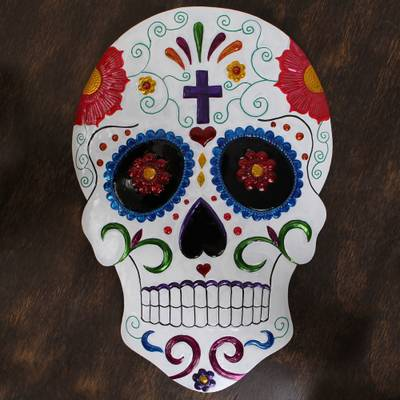 Tin wall art, 'White Floral Skull' - Handmade Floral Skull Tin Wall Art from Mexico