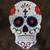 Tin wall art, 'White Floral Skull' - Handmade Floral Skull Tin Wall Art from Mexico thumbail