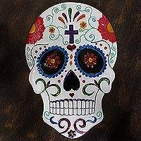 Tin wall art, 'Festive Skull' - Handmade Festive Skull Tin Wall Art from Mexico