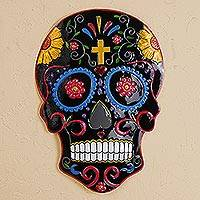 Tin wall art, 'Black Skull' - Handmade Colorful Skull Tin Wall Art from Mexico