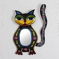 Featured review for Tin wall mirror, Floral Cat