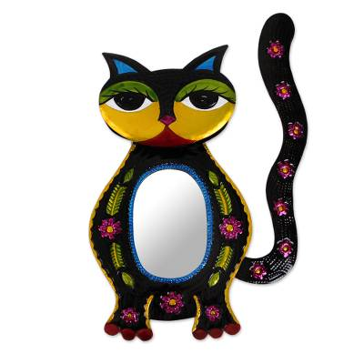 Tin wall mirror, 'Floral Cat' - Floral Cat Tin Wall Mirror Handcrafted in Mexico