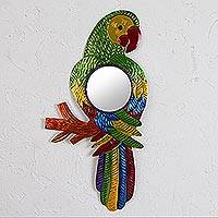 Tin wall mirror, 'Reflective Parrot' - Colorful Parrot Tin Wall Mirror from Mexico