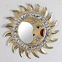 Tin wall mirror, 'Eclipse Reflection' - Sun and Moon-Themed Tin Wall Mirror from Mexico