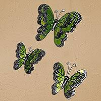 Tin wall art, 'Verdant Butterflies' (set of 3) - Green Tin Butterfly Wall Art from Mexico (Set of 3)