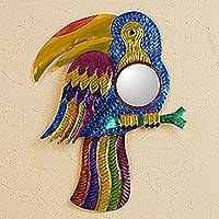 Tin wall mirror, 'Gleaming Toucan' - Colorful Toucan Tin Wall Mirror from Mexico