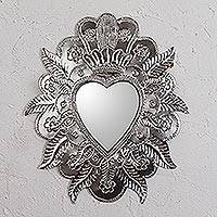 Tin wall mirror, 'Reflective Heart' - Heart-Shaped Tin Wall Mirror from Mexico