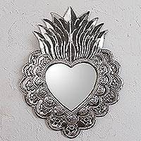 Tin wall mirror, 'Passionate Heart' - Handmade Religious Tin Wall Mirror from Mexico