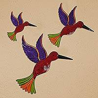Tin wall art, 'Hummingbird Family in Red' (set of 3) - Tin Hummingbird Wall Art in Red from Mexico (Set of 3)
