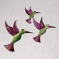 Tin wall art, 'Hummingbird Family in Green' (set of 3) - Tin Hummingbird Wall Art in Green from Mexico (Set of 3)