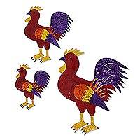 Tin wall art, 'Rooster Trio' (set of 3) - Handmade Tin Rooster Wall Art from Mexico (Set of 3)