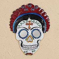 Tin wall mirror, 'Frida Calavera in Red' (8.5 inch) - Frida Day of the Dead Tin Wall Mirror in Red (8.5 in.)